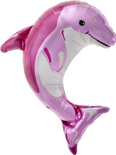 "How can you not love a pink dolphin? - 14"" Tall Foil Balloon - Air-Filled - Stick Included - Easy Self-Seal Great for an Under the Sea Party, Dolphin Party, Mermaid Party,a Fiesta, or a Beach Party"