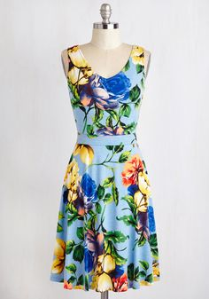 I Think You're Blossom Dress. Complement your cheerful character with this consummate, cornflower blue dress! #blue #modcloth