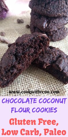 This Chocolate Coconut Flour cookies are a guilt free treat loaded with chocolate and are gluten free, low carb, paleo and has no white sugar. Coconut Flour Desserts, Coconut Flour Cookies, Baking With Coconut Flour, No Flour Cookies, Coconut Recipes, Baking Flour, Low Carb Desserts, Gluten Free Desserts, Dairy Free Recipes