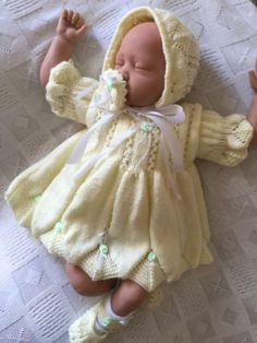 New: Stunning Knitted 6 Piece Set For A 24 -26  Reborn Baby Girl