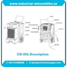 Product schematic of CD-85L Industrial dehumidifier. Product schematic of CD-85L which offered at low dehumidifier price.