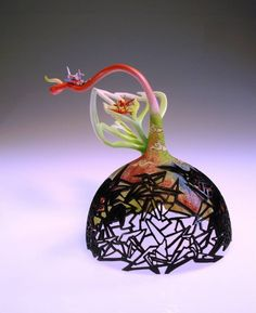 Binh Pho has long been recognized as a master wood turner. He broke new ground with his innovative, intricately carved surfaces. Binh has now taken on the challenge of expressing his aesthetic in glass. Pho, Wood Sculpture, Sculptures, Unusual Art, Land Art, American Artists, Hand Blown Glass, Christmas Bulbs, Carving