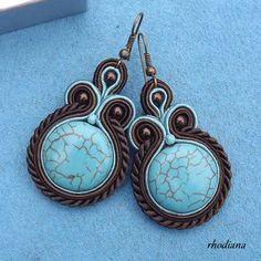 Turquoise in bronze Soutache  earringd