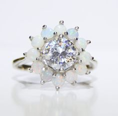 Vintage Opal and Cubic Zirconia Floral Ring 14k by LadyLibertyGold