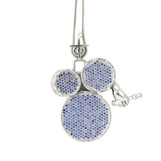 Handmade White Rhodium Plated 925 Silver Pendant with Blue Sapphires<br ...