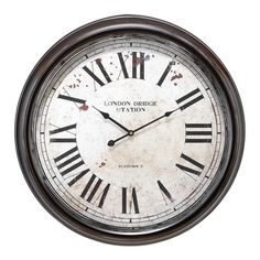 Metal Wall Clock with Big Roman Numbers