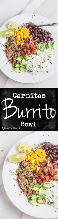 This Carnitas Burrito Bowl is a bowlful of festive zesty sunshine. It's healthy and big on flavor. A serious people pleaser. Mexican Dinner Recipes, Mexican Dishes, Easy Enchilada Casserole, Mexican Pulled Pork, Carnitas Recipe, Clean Eating, Healthy Eating, People Pleaser, Gourmet
