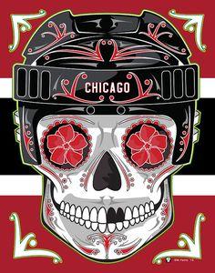 Chicago Blackhawks Sugar Skull Print 11x14 print by MYantz on Etsy
