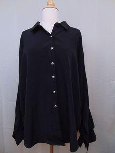 Panhandle Slim Women's Western Shirt Black Long Ruffled Sleeves Size XL #693 #PanhandleSlim #Western #Western
