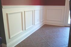 "Use simple trim to create a wainscot by adding a chair rail and ""picture frame"