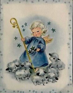 Vintage Greeting Cards, Vintage Christmas Cards, Christmas Greeting Cards, Christmas Greetings, Pigtail Hairstyles, Platinum Hair, Blue Angels, New Blue, New Home Gifts