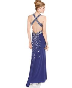Hailey Logan Juniors Dress, Sleeveless Crisscross Beaded Halter Gown - Juniors Dresses - Macy's
