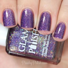 "Glam Polish Dreamgirls | Broadway Collection | Peachy Polish ""Dreamgirls"" has an medium purple jelly base with matching metallic and holographic  microglitter and shimmer with some added gunmetal to gold colorshifting microglitter.  2 coats."
