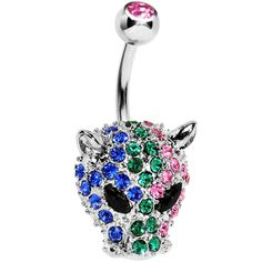 Multi Gem Panther Head Belly Ring | Body Candy Body Jewelry