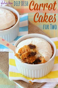 Gluten-Free Deep Dish Carrot Cakes for Two with Greek yogurt cream cheese frosting. The perfect dessert recipe for two people, if you're willing to share! | cupcakesandkalechips.com