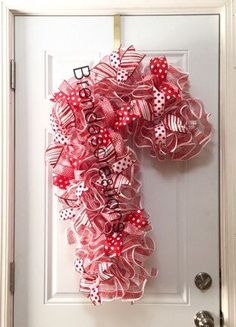 Candy Cane Deco Mesh Wreath  Candy Theme by BrendasCreativeCakes