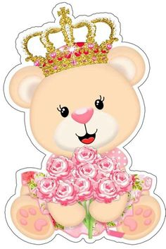 Baby Shower Oso, Scrapbook Bebe, Deco Stickers, Bear Theme, Baby Shawer, Baby Clip Art, Clipart, Pink And Gold, Cake Toppers