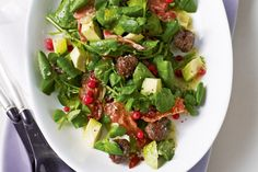 A meatball salad with pancetta, watercress, redcurrants and avocados – it's great as a side and hearty enough for a main meal.
