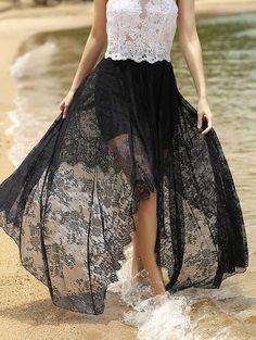 Full Lace Black High Waist Skirt BLACK: Skirts | ZAFUL