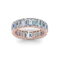 Emerald Cut Eternity Band with Diamonds in 18K Rose Gold exclusively styled by Fascinating Diamonds