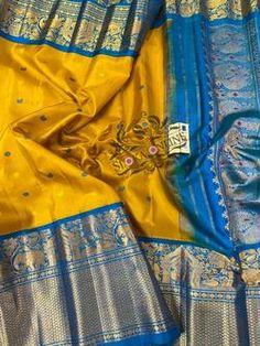 Latest Pure Handloom Gadwal Silk Sarees With Silk Mark - Sloka Online Gadwal Sarees Silk, Kanchi Organza Sarees, Kuppadam Pattu Sarees, Kanchipuram Saree, Saris, Blue Silk Saree, Soft Silk Sarees, Saree Wedding, Bridal Lehenga