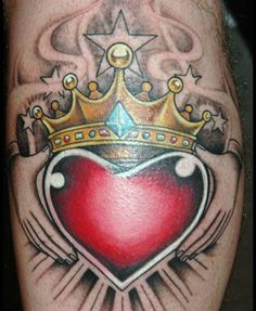 Irish Claddagh Tattoos | color sacred heart tattoo claddagh ring style