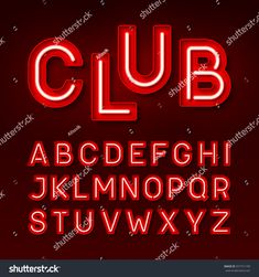 Mono lines style alphabetic fonts capital letter abcdefghij night club neon font broadway style vintage typeface vector illustration buy this stock vector on shutterstock find other images altavistaventures Images