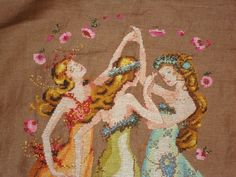 Circle of Friend by Mirablia.  Cross Stitch project on 28 ct.  Coffee Cashel Linen.  Nora Corbett makes some of the greatest designs in cross stitch patterns.