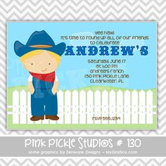 Cowboy 3 Personalized Party Invitation-personalized invitation, photo card, photo invitation, digital, party invitation, birthday, shower, announcement, printable, print, diy, lazer