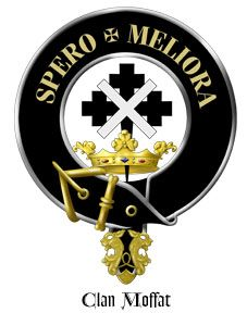 """Clan Moffat Crest: A crest coronet and issuing therefrom a cross crosslet fitchée Sable surmounted of a saltire Argent.  Motto: SPERO MELIORA. from Latin: """"I hope for better things"""""""