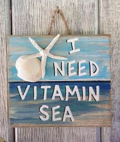 Ocean Pallet Art – Wooden Vitamin Sea Sign, Seaside Decor, Upcycled Beach Art, Coastal Sea Wall Art, Nautical Home Decor - Fisch Krafts Ideen Seaside Decor, Beach House Decor, Coastal Decor, Beach Houses, Ocean Home Decor, Seaside Art, Surf Decor, Coastal Interior, Beach Wall Decor