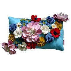 Wool Felt Floral Cushion in Pastels♥
