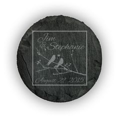Round Slate Coasters (set of 4)  - Birds on Brach inside a box personalized with names and dates in script