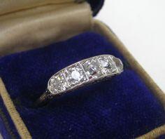 Antique Engraved Platinum European Cut Diamond 5 Stone Ring GIA $3800 00 | eBay