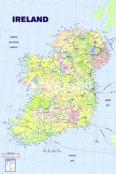 WALL MAP OF IRELAND Poster - Eire Island, Republic of Ireland, Northern Ireland, UK ~ available at www.sportspostwerwarhouse.com