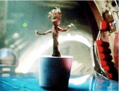 I love Groot! This scene had me in tears of laughter! Click for gif set of Groot.