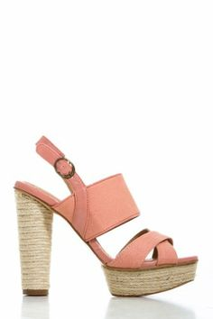 Canvas Strapped Pumps in Pink