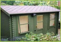 green wood single pitch tiled roof