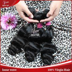 7A Unprocessed Virgin Hair Brazilian Virgin Hair Loose Wave Aliexpress Hair Extensions 3Bundles Lot Ishow Natural Black Color 1B