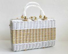 1950s Handbag / Vintage Wicker Handbag / White Handbag by modhuman, $68.00
