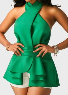 Green Halter Neck Asymmetric Hem Flouncing Blouse