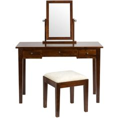 Laura Ashley Garrat Chestnut Dressing Table Mirror & Stool Set