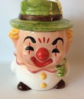 Vintage Cute CLown Cookie Jar With Flower And Hat Red Nose Happy