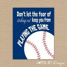 Motivating Baseball Quote PRINTABLE Signs. by JoyfulArtDesigns, $6.00