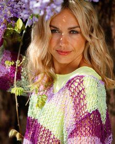 Strik selv: Stribet bluse med netmønster - Hendes Verden