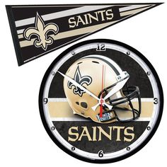 New Orleans Saints NFL Round Wall Clock and Pennant Gift Set