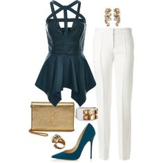 A fashion look from June 2015 featuring no sleeve shirt, victoria beckham pants and pointed toe shoes. Browse and shop related looks. Simple Outfits, Classy Outfits, Chic Outfits, Sexy Outfits, Girl Outfits, Fashion Wear, Fashion Outfits, Anime Outfits, Casual Trouser Outfit