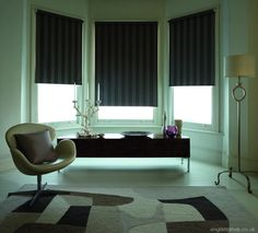 A bay window can be a fantastic feature in any room, so why not show it off with perfect fitting blinds. Vertical, Roman or Roller blinds are ideal. Bay Window Blinds, Interior Window Shutters, Blinds For Windows, Bay Windows, Bay Window Design, Perfect Fit Blinds, Honeycomb Blinds, Fitted Blinds, Beautiful Blinds