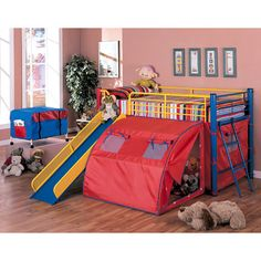 Wildon Home ® Twin Loft Bed with Slide and Tent  sc 1 st  Pinterest & Boys super hero loft bedroom. Junior fantasy loft bed with slide ...