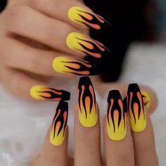 #AcrylicNailsForSummer Acrylic Nails Coffin Short, Summer Acrylic Nails, Best Acrylic Nails, Acrylic Nails Yellow, Coffin Nails Matte, Orange Ombre Nails, Yellow Nail Art, Spring Nails, Summer Nails